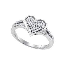 0.20 CTW Diamond Milgrain Heart Cluster Ring 10KT White Gold - REF-24N2F
