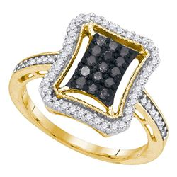 0.50 CTW Black Color Diamond Rectangle Cluster Ring 10KT Yellow Gold - REF-30F2N