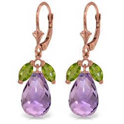 Genuine 14.4 ctw Peridot & Amethyst Earrings Jewelry 14KT Rose Gold - REF-46V7W