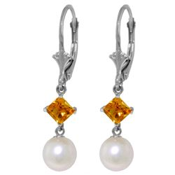 Genuine 5 ctw Pearl & Citrine Earrings Jewelry 14KT White Gold - REF-29R7P