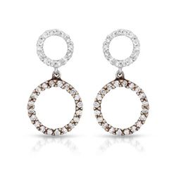 0.42 CTW Diamond Earrings 14K 2Tone Rose Gold - REF-30R4K