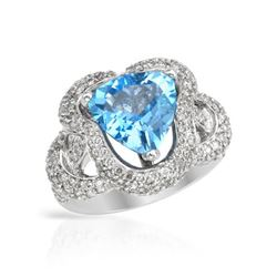 5.35 CTW Topaz & Diamond Ring 14K White Gold - REF-94N3Y