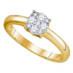 0.96 CTW Diamond Cluster Bridal Engagement Ring 18KT Yellow Gold - REF-217H4M