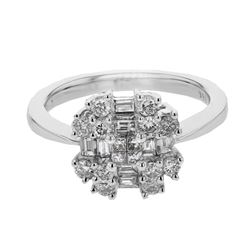 0.85 CTW Diamond Ring 18K White Gold - REF-91F2N