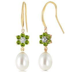 Genuine 9.01 ctw Peridot, Pearl & Diamond Earrings Jewelry 14KT Yellow Gold - REF-44Y3F