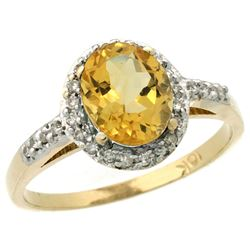 Natural 1.3 ctw Citrine & Diamond Engagement Ring 14K Yellow Gold - REF-32K2R