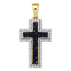 0.25 CTW Black Color Diamond Cross Pendant 10KT Yellow Gold - REF-24M2H