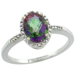 Natural 1.2 ctw Mystic-topaz & Diamond Engagement Ring 14K White Gold - REF-23R2Z