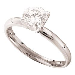 0.90 CTW Diamond Solitaire Bridal Engagement Ring 14KT White Gold - REF-224X9Y