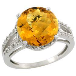 Natural 5.34 ctw Whisky-quartz & Diamond Engagement Ring 14K White Gold - REF-43G5M