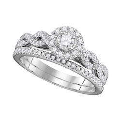 0.51 CTW Diamond Halo Bridal Ring 14KT White Gold - REF-75X2Y
