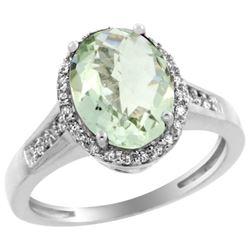 Natural 2.49 ctw Green-amethyst & Diamond Engagement Ring 14K White Gold - REF-42G2M