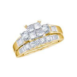 1 CTW Princess Diamond Cluster Bridal Engagement Ring 10KT Yellow Gold - REF-56W2K