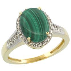 Natural 2.49 ctw Malachite & Diamond Engagement Ring 14K Yellow Gold - REF-39X7A