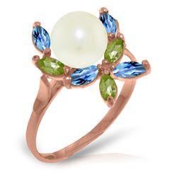 Genuine 2.63 ctw Blue Topaz & Peridot Ring Jewelry 14KT Rose Gold - REF-28H5X