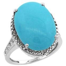 Natural 13.6 ctw Turquoise & Diamond Engagement Ring 14K White Gold - REF-111G2M