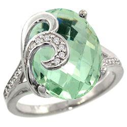 Natural 11.18 ctw green-amethyst & Diamond Engagement Ring 14K White Gold - REF-82A2V
