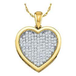 0.05 CTW Diamond Cluster Small Heart Love Pendant 10KT Yellow Gold - REF-4W5K
