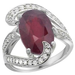 Natural 6.74 ctw ruby & Diamond Engagement Ring 14K White Gold - REF-142F8N
