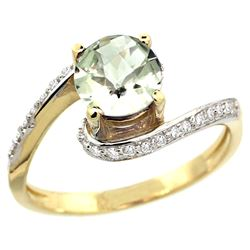 Natural 0.99 ctw green-amethyst & Diamond Engagement Ring 10K Yellow Gold - REF-42N2G