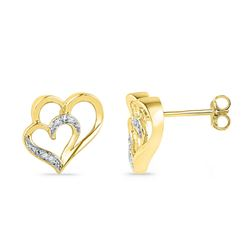 0.03 CTW Diamond Heart Love Earrings 10KT Yellow Gold - REF-12M2H