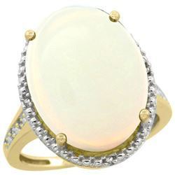 Natural 13.6 ctw Opal & Diamond Engagement Ring 10K Yellow Gold - REF-66Y4X