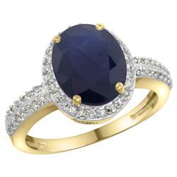 Natural 2.56 ctw Blue-sapphire & Diamond Engagement Ring 10K Yellow Gold - REF-93M5H