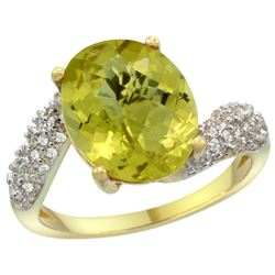 Natural 6.45 ctw lemon-quartz & Diamond Engagement Ring 14K Yellow Gold - REF-52R2Z