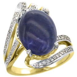 Natural 4.78 ctw lapis-lazuli & Diamond Engagement Ring 14K Yellow Gold - REF-87Z3Y