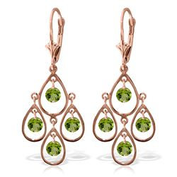 Genuine 2.4 ctw Peridot Earrings Jewelry 14KT Rose Gold - REF-54W9Y