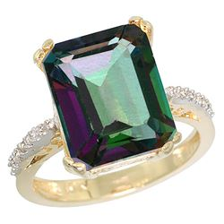 Natural 5.48 ctw Mystic-topaz & Diamond Engagement Ring 14K Yellow Gold - REF-51V4F