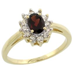 Natural 0.67 ctw Garnet & Diamond Engagement Ring 14K Yellow Gold - REF-48X6A