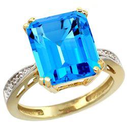 Natural 5.42 ctw Swiss-blue-topaz & Diamond Engagement Ring 14K Yellow Gold - REF-61W9K