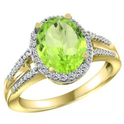 Natural 3.1 ctw peridot & Diamond Engagement Ring 10K Yellow Gold - REF-49N8G