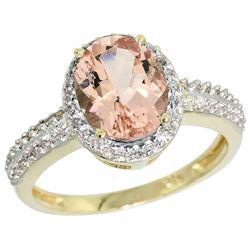 Natural 1.86 ctw Morganite & Diamond Engagement Ring 14K Yellow Gold - REF-50G3M