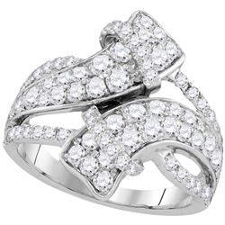 2 CTW Diamond Bypass Crossover Luxury Ring 14KT White Gold - REF-157Y5X