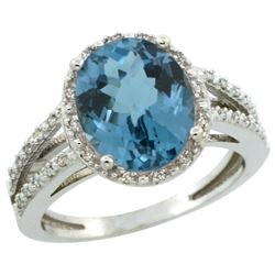 Natural 3.47 ctw London-blue-topaz & Diamond Engagement Ring 14K White Gold - REF-47M2H