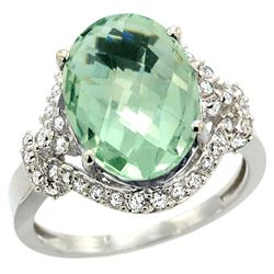 Natural 5.89 ctw green-amethyst & Diamond Engagement Ring 14K White Gold - REF-88X8A