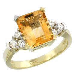 Natural 2.86 ctw citrine & Diamond Engagement Ring 10K Yellow Gold - REF-53H5W