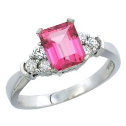 Natural 1.48 ctw pink-topaz & Diamond Engagement Ring 14K White Gold - REF-52Y3X
