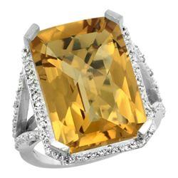 Natural 13.72 ctw Whisky-quartz & Diamond Engagement Ring 14K White Gold - REF-73Z9Y