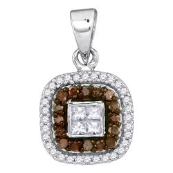 0.35 CTW Cognac-brown Color Diamond Square Pendant 10KT White Gold - REF-22K4W