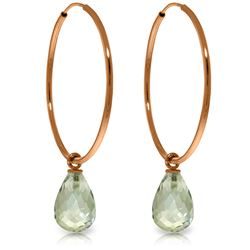 Genuine 4.5 ctw Green Amethyst Earrings Jewelry 14KT Rose Gold - REF-26Y2F