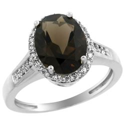 Natural 2.49 ctw Smoky-topaz & Diamond Engagement Ring 10K White Gold - REF-31N9G