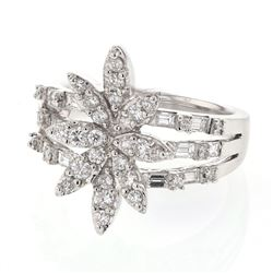 0.99 CTW Diamond Ring 18K White Gold - REF-119Y2X