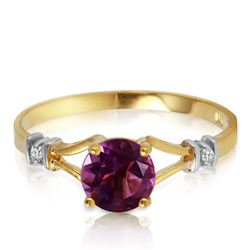 Genuine 0.92 ctw Amethyst & Diamond Ring Jewelry 14KT Yellow Gold - REF-28X4M