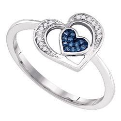 0.05 CTW Blue Color Diamond Heart Love Ring 10KT White Gold - REF-12Y8X