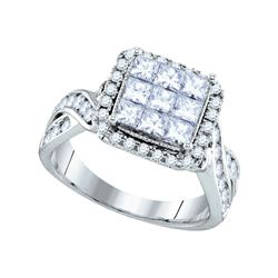 1.65 CTW Princess Diamond Cluster Bridal Engagement Ring 14KT White Gold - REF-187F4N
