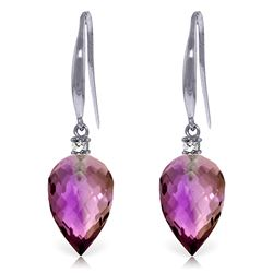 Genuine 19.1 ctw Amethyst & Diamond Earrings Jewelry 14KT White Gold - REF-41T3A