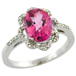 Natural 1.85 ctw Pink-topaz & Diamond Engagement Ring 14K White Gold - REF-38X6A